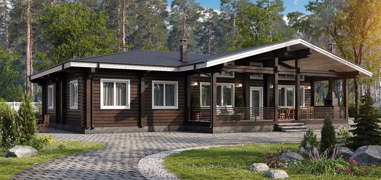 Красивые одноэтажные деревянные дома проекты фото